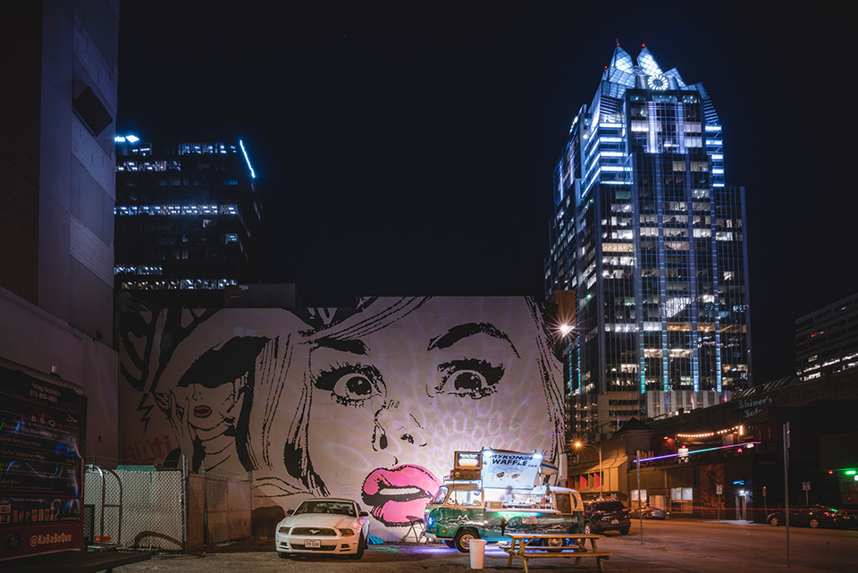 A New City and a Growing Gospel Sharing Movement. Short Term Mission Trip. Urban Mission Trip. Youth Mission Trip. Youth Summer Mission Trip. Image of downtown Austin at night.