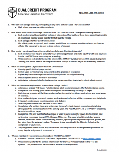 Q&A Sheet for CCU & Lead THE Cause dual credit course